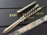 adjustable latches - The One BM47 Tanto Blade butterfly knife Balisong Titanium handle adjustable Spring Latch High End quality