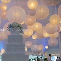 Wholesale Upscale quot cm White Chinese Paper Lanterns With LED Lights Hanging Ornament For Wedding Party Decoration Supplies