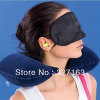 air pillow packing - in1 Travel Set Inflatable Travel Flight Pillow Neck U Rest Air Cushion Eye Mask Earbuds Twin Pack