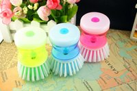 automatically clean toilets - Automatically add fluid brush pot of kitchen creative pot brush cleaning brush brush wash plastic brush Wash the pot brush