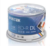 Wholesale 50PCS GB BD R X Speed High Grade Ritek Printable Bluray DL double layer Blank Disc