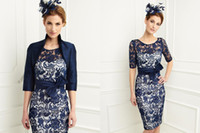 best fall jackets - 204 Best Selling Navy Blue Lace Mother of the Bride Dresses with Jacket Plus Size Wedding Party Dresses Mother Of the Bride