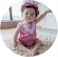 Wholesale Baby Girl Lace Romper Hairband Infant Clothes Set Summer Toddler Sweet Black Red Plaid Check Gird Sleeveless Vest Jumpsuit I4665