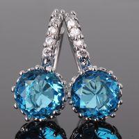 aquamarine stone - Brand jewelry k white gold plated earing aquamarine cubic zirconia stone hoop earings ES005g