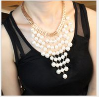 fine clothing - 2015 Real Ruili Fashion Pearl Necklace Big European And American Fine Tassel Exaggerated Female Accessories Retail Clothing Chain