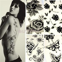 Wholesale 2014 New Removable Ladies Body Art Sticker Unisex Butterfly Rose Temporary Tattoo