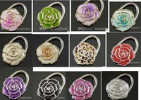 Wholesale Fashion rose flower style Metal Hand Bag Handbag Purse Hanger Hook Holder mxied colors peice mixed color