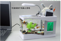 Wholesale Multifunctional usb fish tank turtle tank usb aquarium mini fish tank mini aquarium led lighting