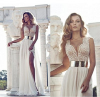 Wholesale 2014 Gorgeous Crystal Beaded Julie Vino Wedding Dresses Beading V Neck Cap Sleeve A Line Floor Length In Stock Wedding Gowns Pageant Dress