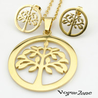 Wholesale 2015 K gold Necklace earrings Jewelry Sets for women Plant Tree of Life Stainless Steel Sets For Womens BTS437