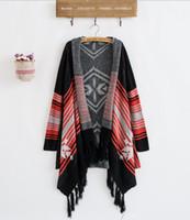 aztec sweater jacket - Fashion Women Tassel Hem Tribal Aztec Cardigan Knitted Loose Sweater Coat jacket Stripe Knit Blanket Batwing Cardigan