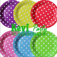 Wholesale DHL FEDEX wholeasale kids Birthday party supplies Premium glossy quality Polka Dot Polkadot Spotty Party Paper plate A153