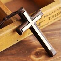 al por mayor joyería colgante de madera-Doble cruz de madera colgante collar de aleación de cosecha de cuero cordón suéter cadena de hombres y mujeres amantes de la joyería con estilo 12pcs
