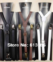 Wholesale New Styles Fashion Women Men CM Wide Skinny Black PU Leather Suspenders Leather Braces Adjustable