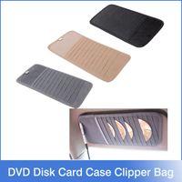 bag clipper - 12pcs Disks Car CD Holder Auto Visor DVD Disk Card Case Clipper Bag Car Styling Interior Organizer Cover stowing tidying