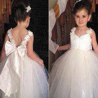 beautiful frocks for girls - 2015 Applique Cute White Tutu Cheap Flower Girl Dresses Lovely Long Tulle Infantil Beautiful Kids Frock Dress For Little Girls Hot Sale
