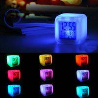 Wholesale New Design Colorful Changes mood alarm clock small night light multifunctional small chronograph calendar clock