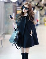 b cloak - The new fall and winter clothes woolen cape collar sub coat solid color long section woolen jacket female B