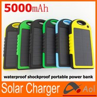 solar mobile phone charger - 5000mAh Solar power Charger and Battery Solar Panel waterproof shockproof Dustproof portable power bank for Mobile Cellphone Laptop Camera