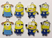 Wholesale new mixed Despicable Me Minion Metal Alloy Enamel Charms Pendants for Jewellery DIY making christmas gifts