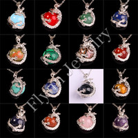amulet silver - Lapis Lazuli White Jade Ruby Natural Gem Stone Super Dragon Ball Bead Reiki Pendant Charms Amulet European Fashion Jewelry Mix Order