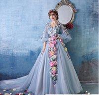 Wholesale hot sell flowers fairy wedding dress fashion long train stars slim custom made handmade formal dress
