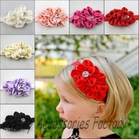 Wholesale 10pcs Infant Elastic Headband With Plastic Rhinestone Baby Chiffon Flower Headbands Newborn Christmas Flower Hair Band Kids Hair Accessories