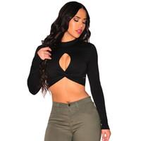 2016 nuove donne sexy Tops Scontornabile ritorto tartaruga collo della maglietta Donne Crop Top manica lunga di colore solido del Tee Blusas Clubwear nero