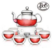 al por mayor temperatura té negro-Juego de té al por mayor de alta temperatura del recipiente flor de cristal bod puer set regalo de moda té negro