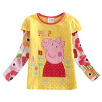 Wholesale The Girls t shirt cartoon peppa pig children clothing baby girls split joint t shirt cotton long sleeve clothes yellow M Y