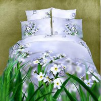 beautiful flower oil painting - luxury beautiful flowers series cotton d oil painting bedding set printed pattern duvet quilt cover for king queen size