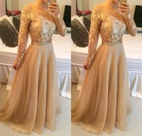 champagne tulle lace prom dress - 2015 New Champagne Long Sleeve Evening Dresses Lace Prom Dress A line Illusion Neck Floor Length Tulle Formal Gowns