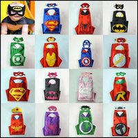 Wholesale Superhero Cape Mask Set Designs CM Superman Spiderman Batman Ironman Cape Flash Captain America Hulk Mask Kids Cosplay Cape Mask DHL