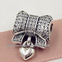 Wholesale Clear Glass Cube Beads - 100% S925 Sterling Silver Heart and Bow Charm Bead with Clear Cz Fits European Pandora Style Jewelry Bracelets Necklaces & Pendant