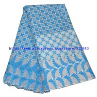 swiss voile lace - New Arrival Cotton African Guipure Material Sky blue Cord French Chemical Lace Fabric Swiss Voile Lace High Quality