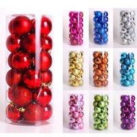 Wholesale 24pcs set NEW Hot mm Round Christmas Balls Baubles XMAS Tree Ornament Christmas Decor Colors Drop Free