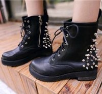 ankle engineer boots - Fashion Ladies Spike Studs Punk Gothic Lace Up Engineer Motorcycle Ankle Boots