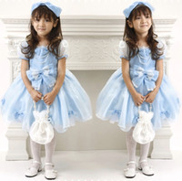 Cheap High Quality Pretty Baby Girl Dress Blue Princess Gown Butterfly Girls Dresses Birthday Dress children party dresses for Infant