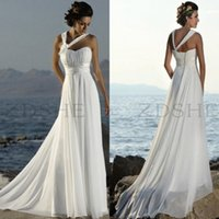 Wholesale 2015 Summer Beach Wedding Dresses Halter Pleated Empire Chiffon Sweep Train Lace Up Back cheap Bridal Gowns Custom made
