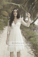 Wholesale 2015 White Ivory Wedding Dresses Short Skirt V neck sleeves Sheer Lace Knee Length Backless Beach Chiffon A Line Bridal Gown Bride Dress