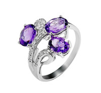 Wholesale Elegant Custom Design Sterling Silver Natural Amethyst Ring