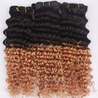 Cheap Thick and Smooth Malaysian Kinky Curly Wave Ombre Hair Extensions Two Tone Colored #1B 27 10-30'' Deep Wave Virgin Remy Human Hair Weaves