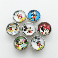 Wholesale Hot Sale mickey Series MM Cartoon Metal Snap Button Mixed Styles DIY Snaps Charms For Wristband Bracelets Bangle S07