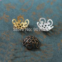 Wholesale Hollow Flower Metal Filigree Loose Spacer Bead Caps Silver Gold Bronze mm DIY Jewely Findings F1731