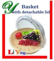 plastic basket - Wicker storage baskets picnic basket wire rustic basket fruit bread proofing basket decoration rattan easter basket with removable cover lid