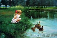 baby oil portrait - High quality Hand painted Portraits Oil Painting Wall Decor Art On Canvas Unframed Baby girl duck pond x36inch