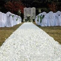 Wholesale 1 m X m roll Fashion White D Rose Flower Carpet Aisle Runner Wedding Backdrop Centerpieces Favors Carpets Party Decoration Supplies