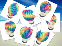 Wholesale New Fashion Colorful Rainbow Striped Indian Turban Hats For Women Ladies