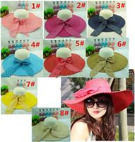 Wholesale 2016 Designer South Korean Big Straw Floppy Beach Hats With Bow Women Kentucky Derby Elegant Brim Spring Summer Bucket Hat Sun Visors Caps