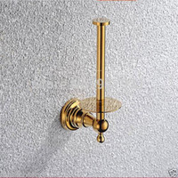 Wholesale And Retail Wall Mount Upstanding Toilet Roll Paper Holder Gold plate Bathroom Toilet Paper Rack